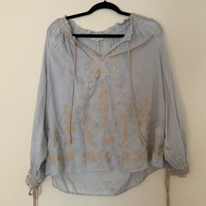 Luck brand embroidered blouse